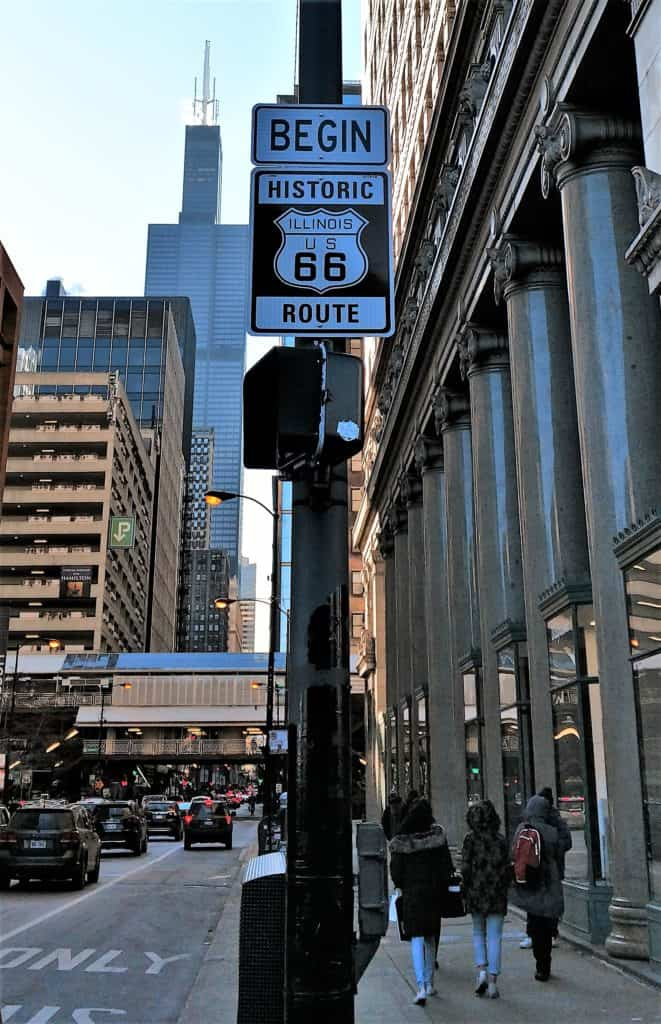 historic Route 66 sign in Chicago