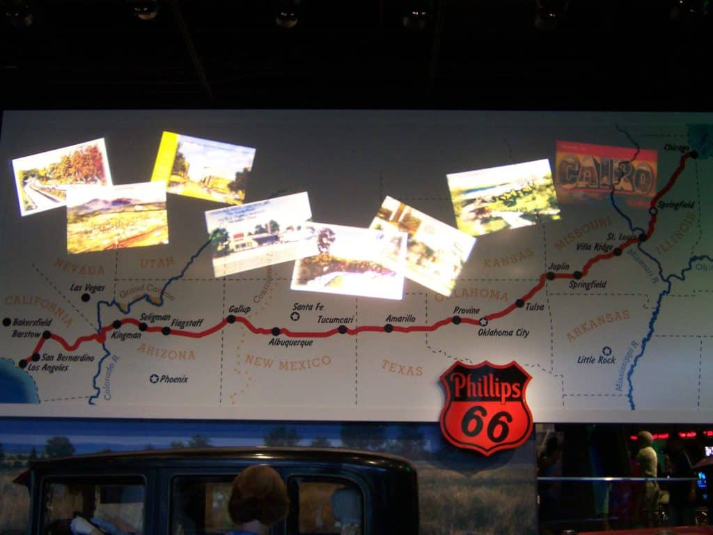 Route 66 display in a museum