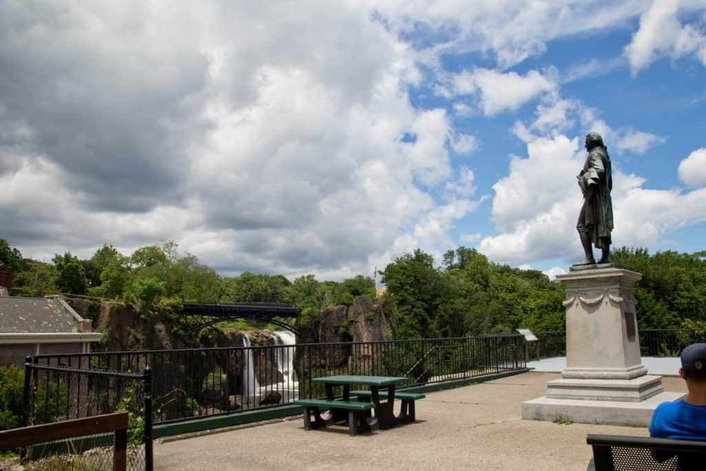 Paterson National Historical Park with Great Falls and Hamilton statue