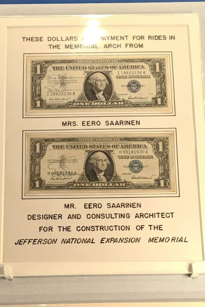 signed dollar bills from Eero Saarinen at the Jefferson National Expansion Memorial museum