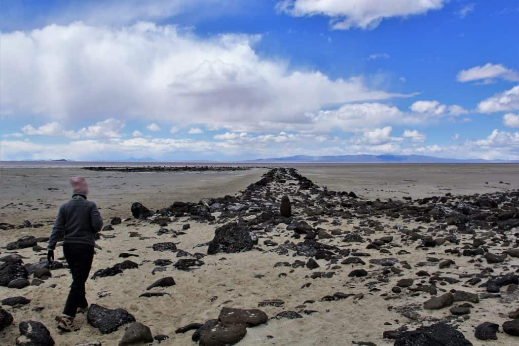 walking Spiral Jetty in Utah