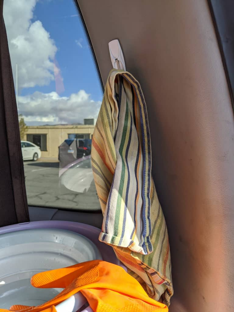 hanging hooks in a campervan